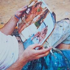 Maler in Betrachtung von Bildern, 2018, 50 x 70 cm.jpg